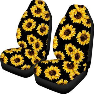 Sunflower Printed Front Seat Covers 2 pcs Vehicle